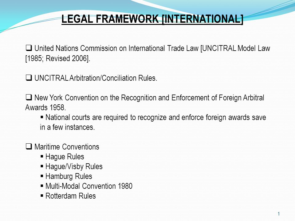 LEGAL FRAMEWORK [INTERNATIONAL]